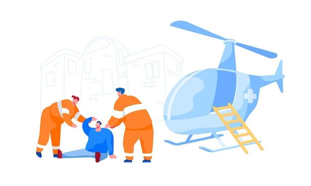 Personages van redder in uniform helpen gewonde man op straat voor vervoer naar het ziekenhuis. reddingshelikopter ambulance, ehbo-transport voor medisch personeel. cartoon mensen Premium Vector