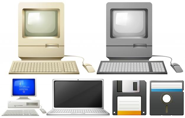 Personal computer met monitors en toetsenborden Gratis Vector