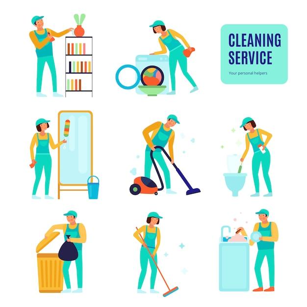 Personeel van schoonmaak service tijdens verschillende huishoudelijke werkzaamheden set van plat pictogrammen geïsoleerd Gratis Vector