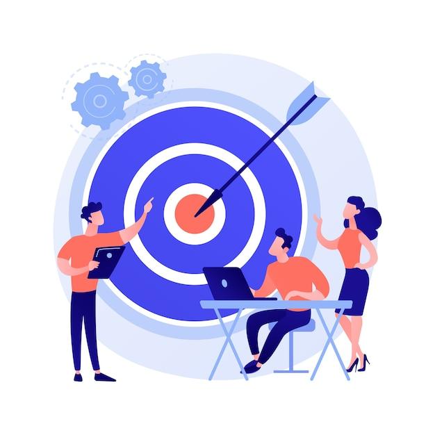 Personeelsbeheer, perspectiefbepaling, doelgerichtheid. teamwork organisatie. business coach, bedrijfsleiding en personeel stripfiguren Gratis Vector