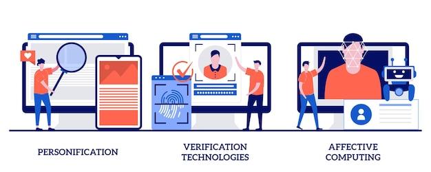 Personificatie, verificatietechnologieën, affective computing met kleine mensen. gegevenstoegang en gebruikerservaring ingesteld. gebruikerswachtwoord, social media-account. Premium Vector