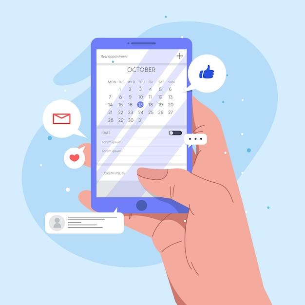 Persoon die een afspraak op smartphone boekt Gratis Vector