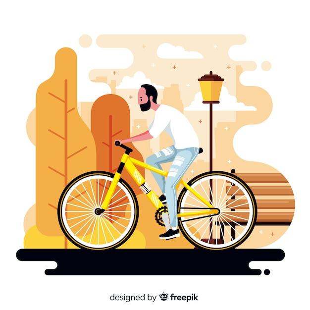 Persoon die een fiets berijdt op de parkachtergrond Gratis Vector
