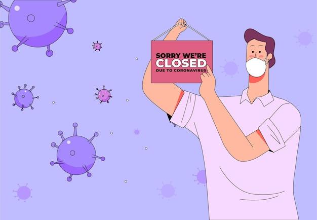 Persoon die een gesloten bord hangt vanwege de quarantaine van het coronavirus Gratis Vector