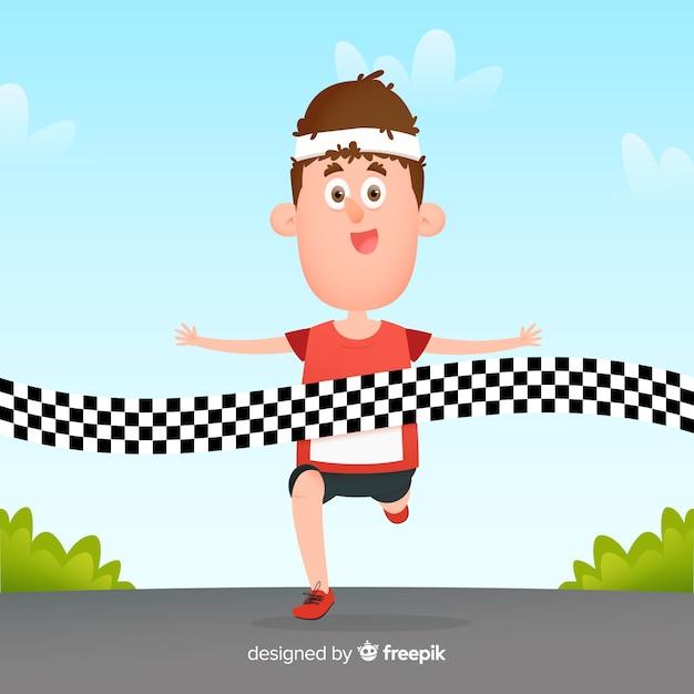 Persoon die een marathonrace wint Gratis Vector