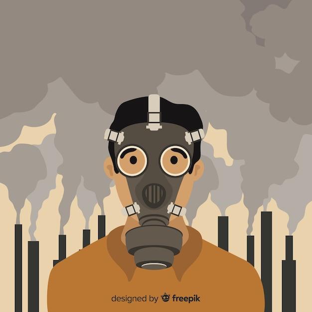 Persoon die in een stad leeft vol vervuiling Gratis Vector
