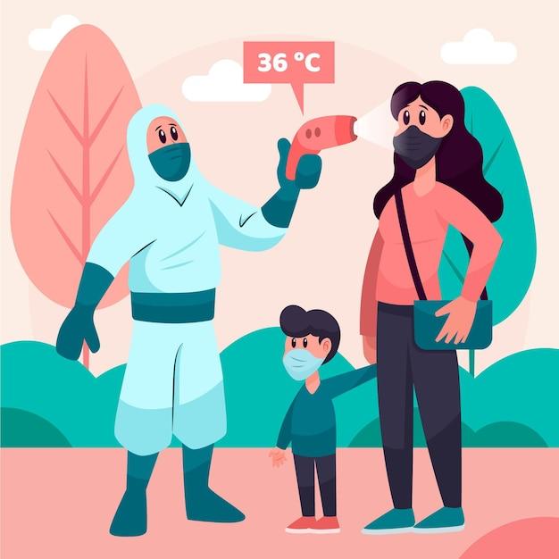Persoon die in hazmatkostuum de temperatuur in park controleert Gratis Vector