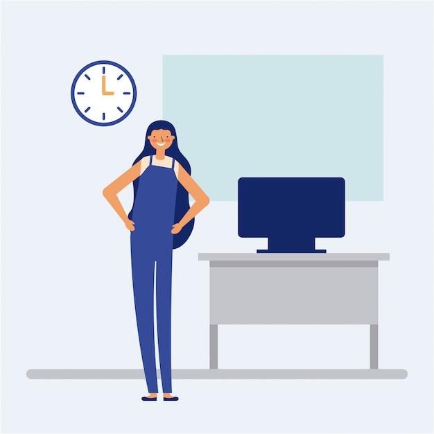 Persoon doet een actieve pauze in het kantoor, vlakke stijl Gratis Vector