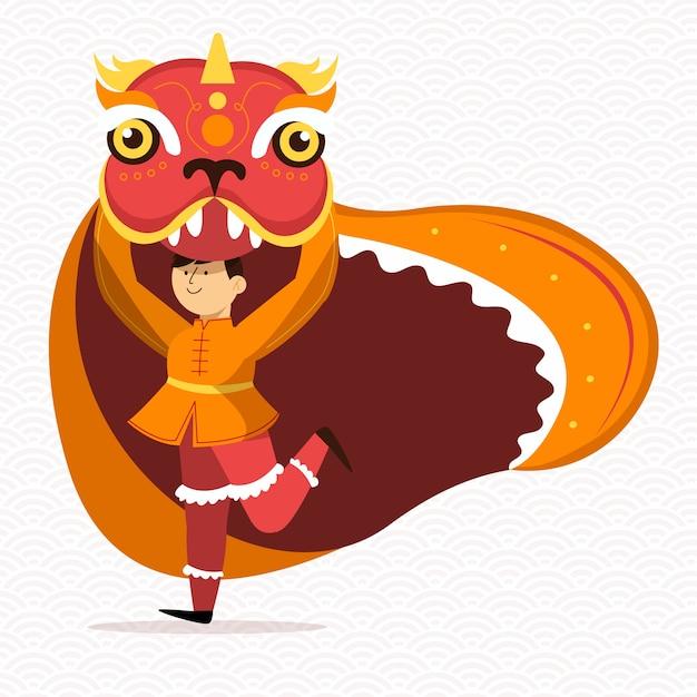 Persoon gekleed in een draak kostuum nieuwjaar 2020 Gratis Vector