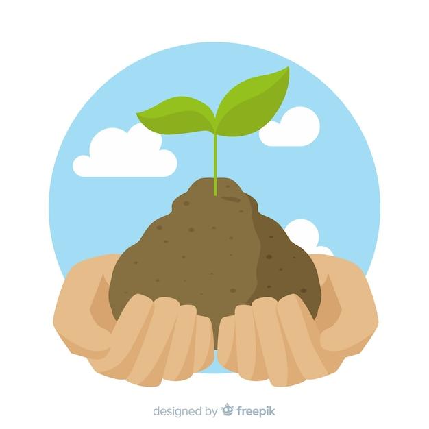 Persoon grijpen grond met de handen Premium Vector