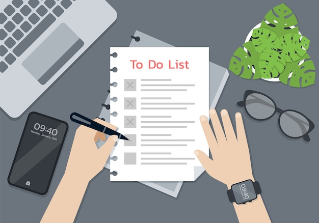 Persoon handen met een pen en schrijven op het takenlijstpapier, smart life concept Premium Vector