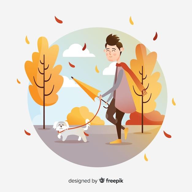 Persoon in een herfst park Gratis Vector