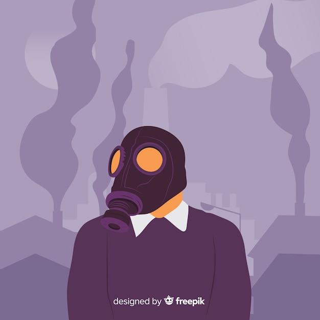 Persoon met masker rond toxigmist Gratis Vector
