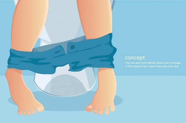 Persoon zittend op toilet met het lijden van constipated Premium Vector