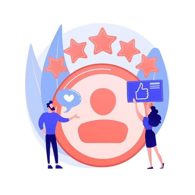 Persoonlijk account. positieve feedback, gebruikersrecensie, loyaliteitssterren. dating site, website ranking. vrouw evalueren webpagina stripfiguur. Gratis Vector