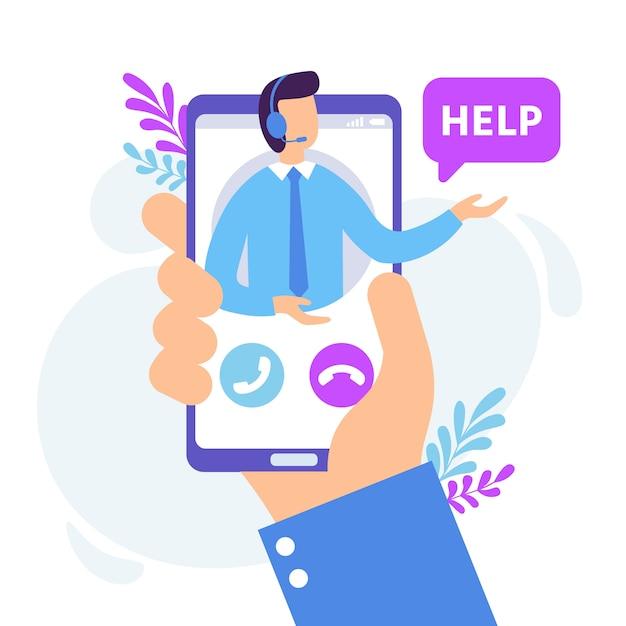 Persoonlijke assistent-service. virtuele technische ondersteuning smartphone app, persoonlijk advies en online communicatie illustratie Premium Vector