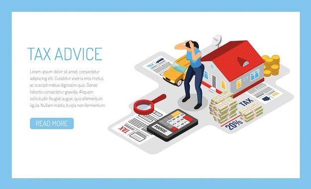 Persoonlijke belasting advies online service sjabloon voor spandoek, isometrische illustratie met huiseigenaar eigendom inkomstenverklaring Gratis Vector