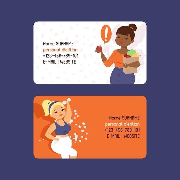 Persoonlijke diëtist set visitekaartjes sjabloon. zwaarlijvigheid concept. gezonde voeding voeding. overleg, gewichtsverlies, natuurlijk groentenvoedsel en fysiek Premium Vector