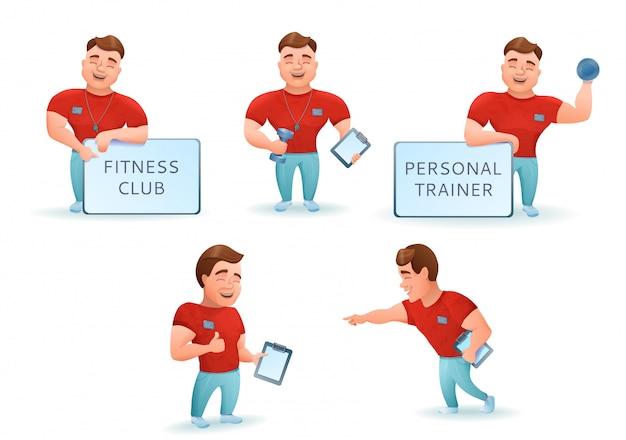 Persoonlijke fitnesstrainer ingesteld Premium Vector