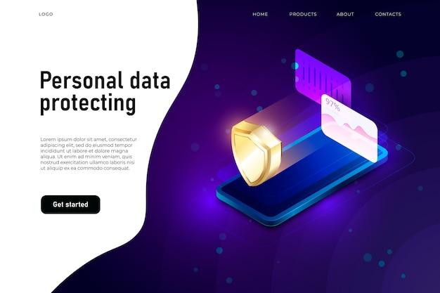 Persoonlijke gegevensbeveiliging isometrische illustratie Premium Vector