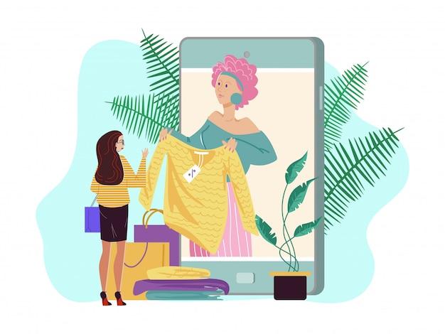Persoonlijke manierstilist online, illustratie. mode-adviseursdienst in grote smartphone, vrouwenkarakter Premium Vector