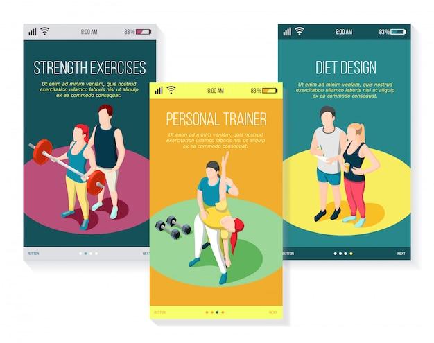 Persoonlijke sporttrainer krachtoefeningen gymnastiek en dieet set mobiele schermen isometrisch Gratis Vector