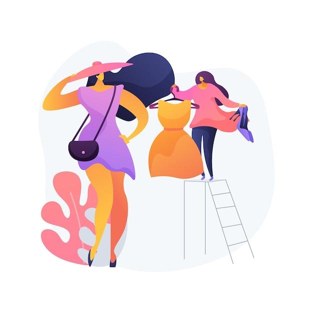 Persoonlijke stylist abstract begrip vectorillustratie. winkeladviseur, schoonheidsblogger, zakelijke kledingkleermaker, werkruimtemode, man en vrouwstijl, kleedkamer abstracte metafoor. Gratis Vector