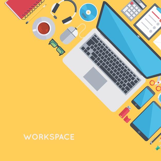 Persoonlijke werkplekorganisatie Gratis Vector