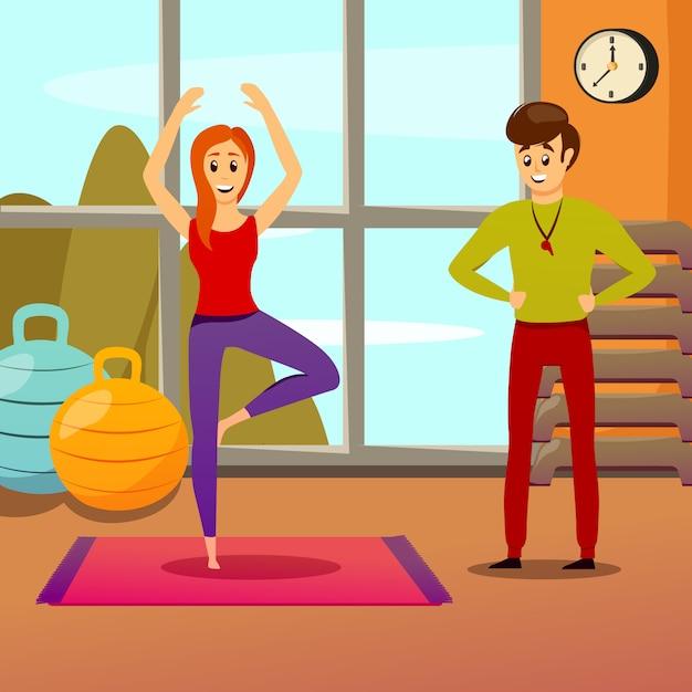 Persoonlijke yoga-instructeur Gratis Vector