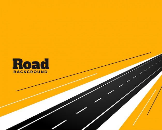 Perspectief wegweg op geel ontwerp als achtergrond Gratis Vector