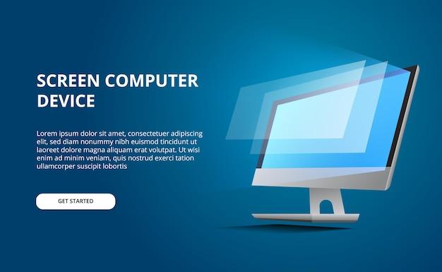Perspectiefcomputer met gloedscherm. beeldscherm computer met blauwe achtergrond Premium Vector