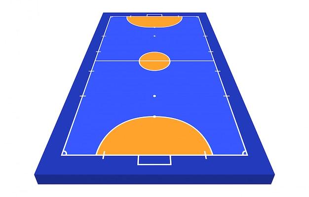 Perspectiefveld veld voor zaalvoetbal. oranje overzicht van lijnen futsal veld illustratie. Premium Vector