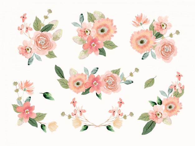 Perzik bloemstuk collectie in aquarel stijl Premium Vector