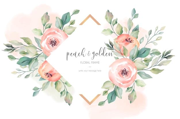 Perzik en gouden mooie bloemenlijst Gratis Vector