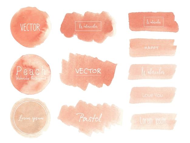 Perzikwaterverfachtergrond, het embleem van de pastelkleurwaterverf, vectorillustratie. Premium Vector