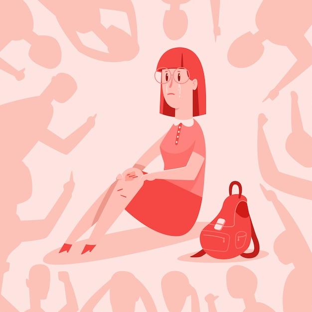Pesten vector cartoon concept illustratie. tiener meisje huilt van beledigingen over haar. demonstratie van intimidatie en agressie van schooljongeren jegens ander kind. Premium Vector