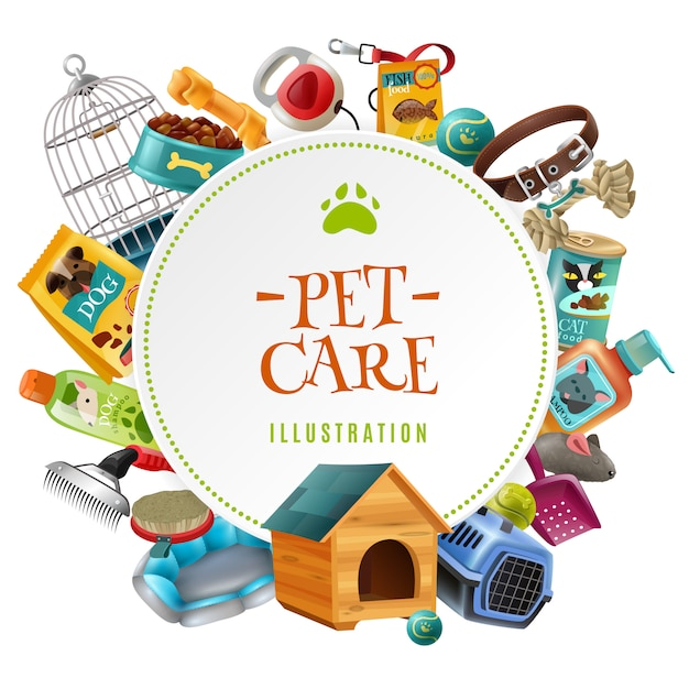 Pet care accessoires ronde frame illustratie Gratis Vector