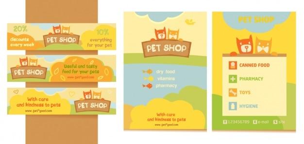 Pet shop banners en brochure ontwerp Premium Vector