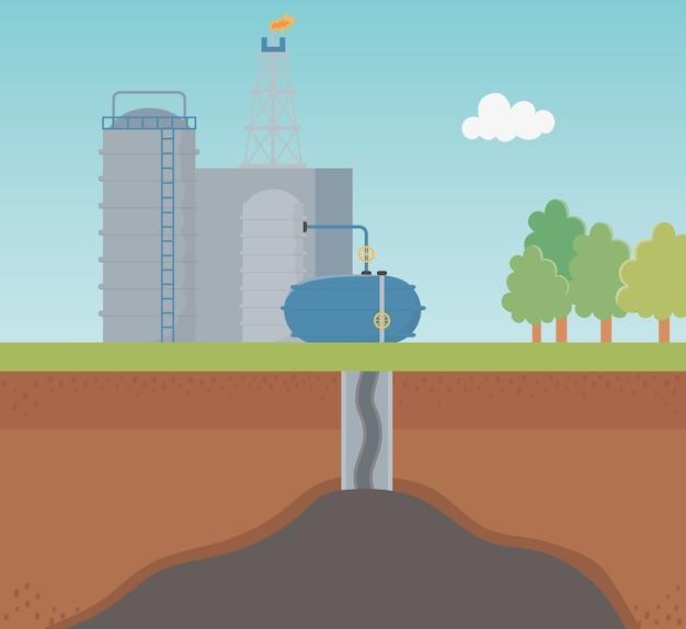 Petrochemische industrie proces exploratie fracking Premium Vector