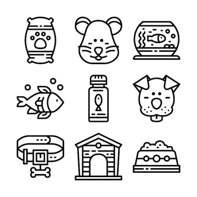 Petshop lijn pictogramserie. Premium Vector