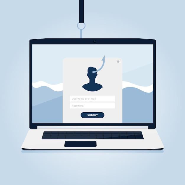 Phishing-account en nep-informatieconcept Gratis Vector