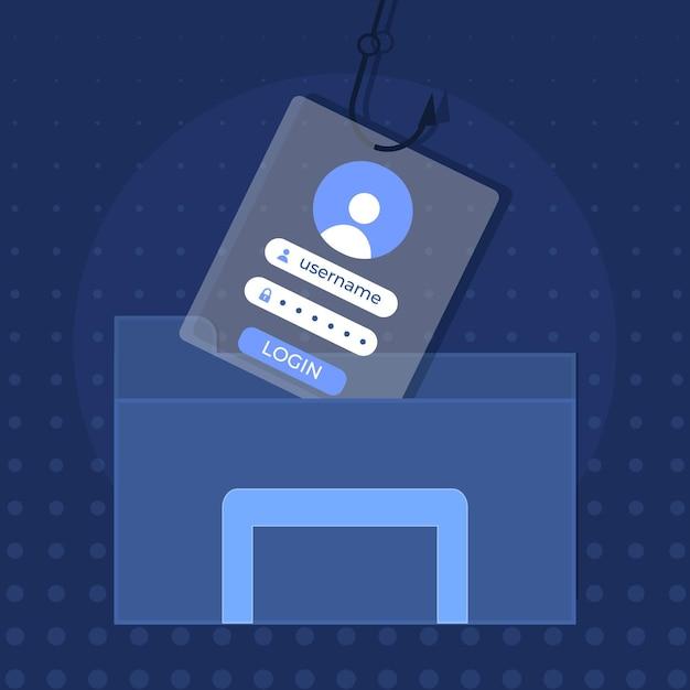 Phishing-account met valse informatie Gratis Vector