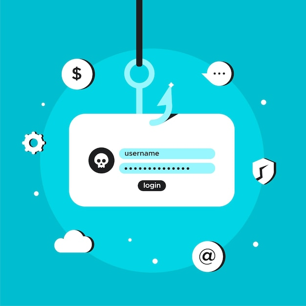 Phishing-accounts hacken en stelen Gratis Vector
