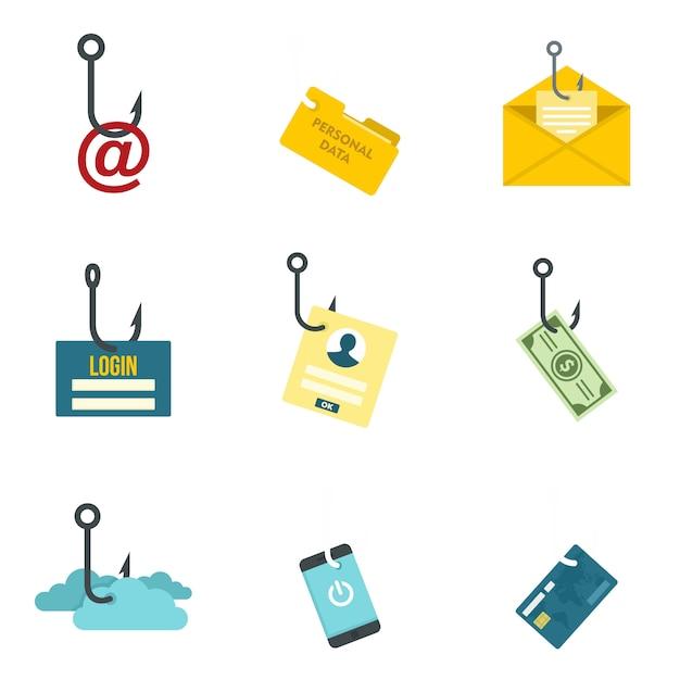 Phishing icon set Premium Vector