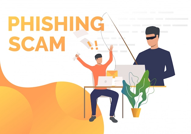 Phishing scam paginasjabloon Gratis Vector