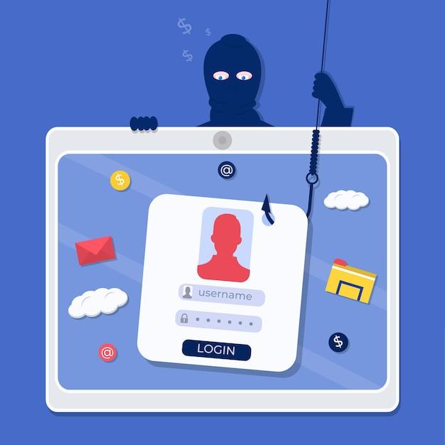 Phishing van andere mensen online accounts Gratis Vector