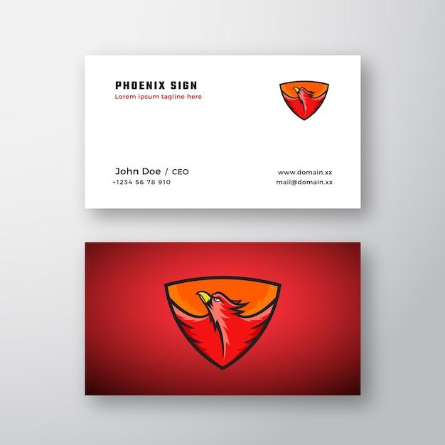 Phoenix abstract logo en sjabloon voor visitekaartjes. Gratis Vector