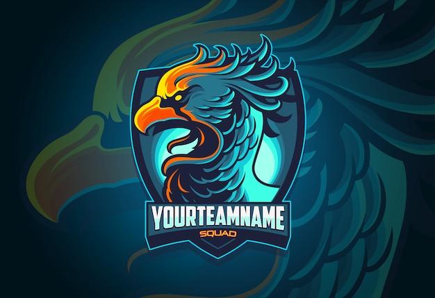 Phoenix esports logo-ontwerp Premium Vector