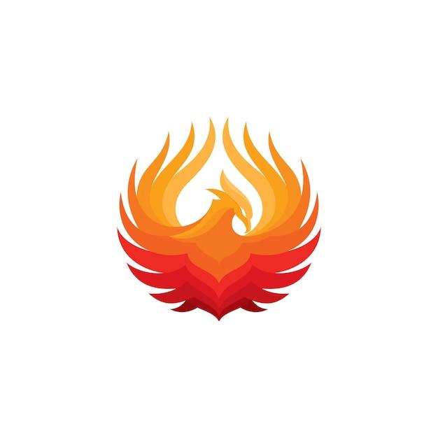Phoenix fire bird logo template Premium Vector