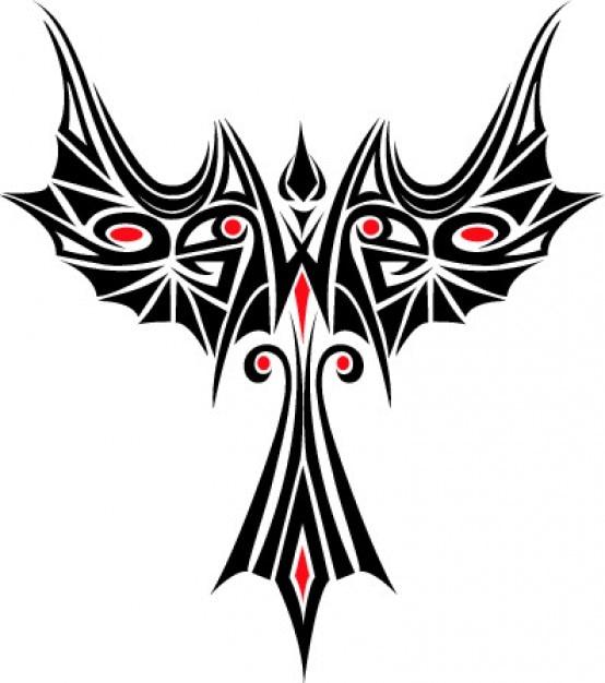 Phoenix tatoo sjabloon pictogram vector Gratis Vector